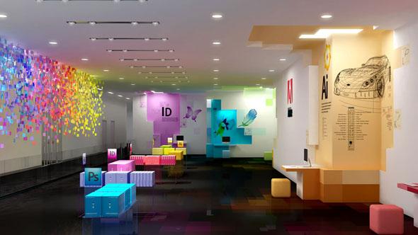 Sala com decoração criativa