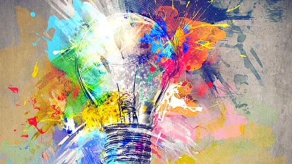 Design Thinking - Lâmpada com tintas coloridas