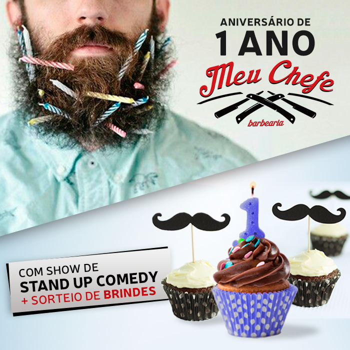 Campanha de Redes Sociais com elementos de festas para convite de 1 ano da barbearia meu chefe